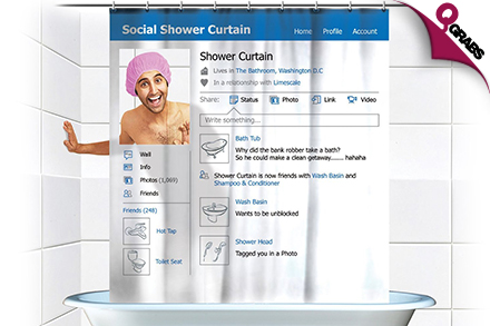 For QR69 Have Some Social Media Fun In The Bathroom With A Facebook Profile Themed Shower Curtain QR109 Value
